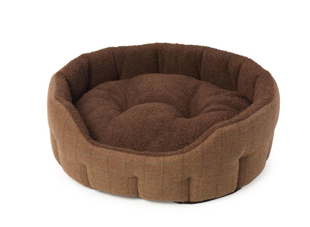 Brown Tweed Oval Snuggle Bed
