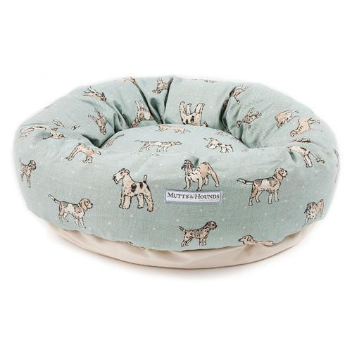 Mutts and Hounds Dog Print Duck Egg Donut Bed