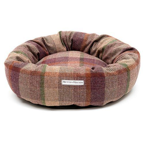 Mutts and Hounds Grape Check Tweed Donut Bed