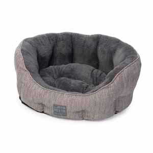 Grey Hessian Plush Oval Snuggle Bed