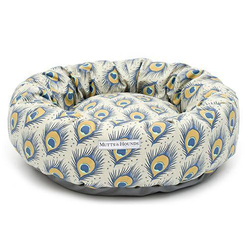 Mutts and Hounds Peacock Linen Donut Bed