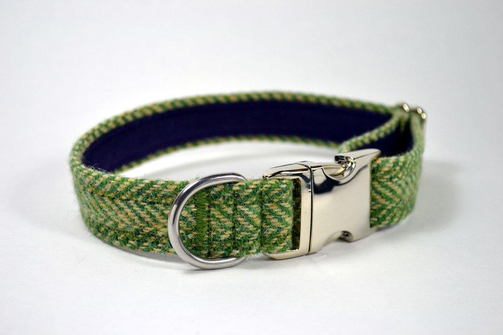 Green Herringbone Harris Tweed Small Dog/Puppy Collar