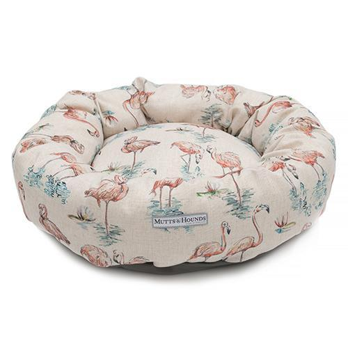 Mutts and Hounds Flamingo Linen Donut Bed