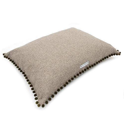Mutts And Hounds Grey Tweed Pom Pom Pillow Bed