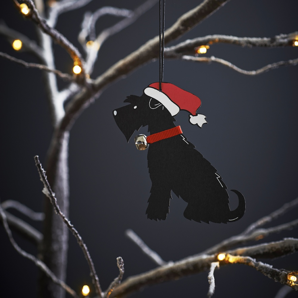 Black Schnauzer Dog Christmas Tree Decoration