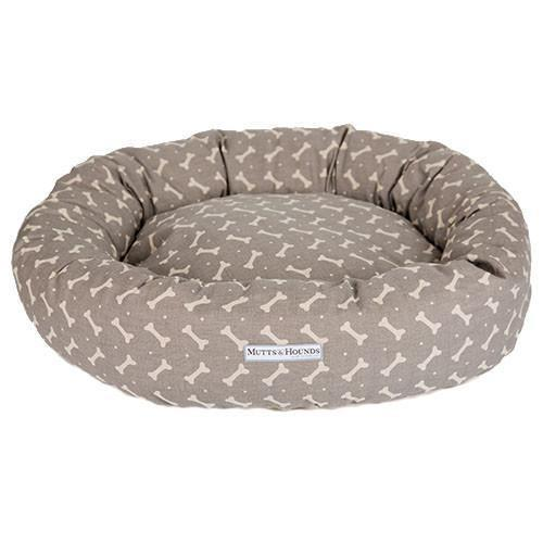 Mutts and Hounds Mushroom Bone Linen Donut Bed Small