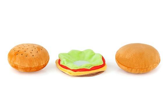 Burger Plush Dog Toy