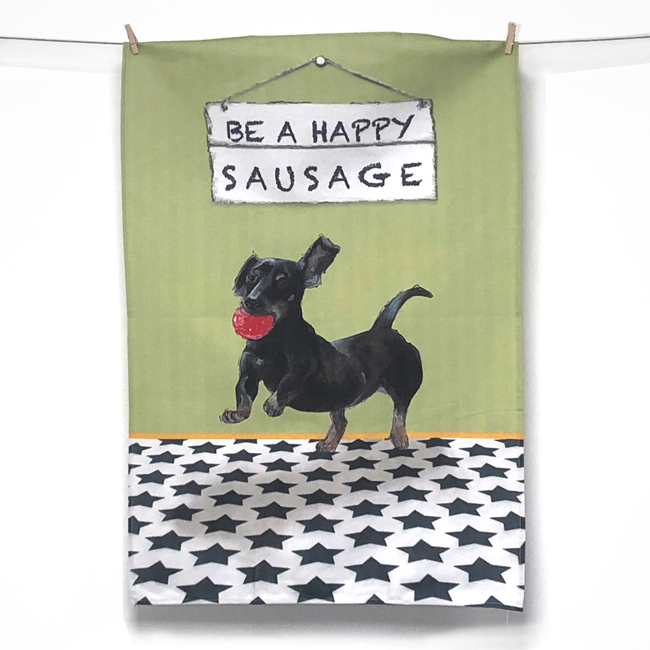 Dachshund Tea Towel – Happy Sausage
